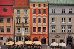 Veelkleurige huizen in Krakau Royalty-vrije Stock Foto's