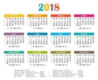 2018 Veelkleurige jaarlijkse kalender stock illustratie