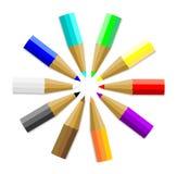 Veelkleurige Kleurpotloden of Kleurpotloden Stock Foto