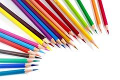 Veelkleurige Kleurpotloden of Kleurpotloden Stock Afbeeldingen