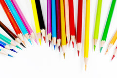 Veelkleurige Kleurpotloden of Kleurpotloden Stock Foto's