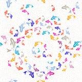 Veelkleurige naadloze patroon van Koi het gouden vissen Royalty-vrije Stock Afbeelding