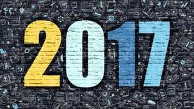 Veelkleurige 2017 op Donkere Brickwall De stijl van de krabbel Stock Foto's