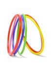 Veelkleurige plastic armbanden stock afbeeldingen