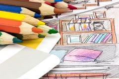 Veelkleurige potloden met van kleurengids en ontwerpers schets van livi royalty-vrije stock foto