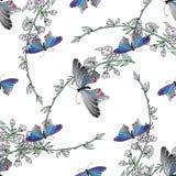 Veelkleurige vlinders Hand getrokken krabbel Naadloos patroon Stock Afbeelding
