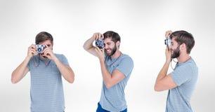 Veelvoudig beeld van de mens die camera met behulp van tegen witte achtergrond royalty-vrije stock fotografie