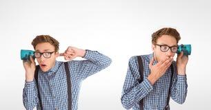 Veelvoudig beeld van de mens die door glas luisteren vector illustratie