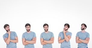 Veelvoudig beeld van de mens met diverse uitdrukkingen stock fotografie
