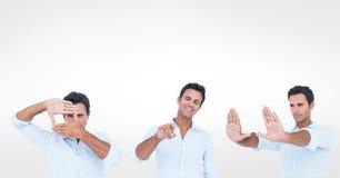 Veelvoudig beeld van mens het gesturing over witte achtergrond stock fotografie