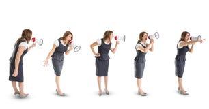 Veelvoudig beeld van onderneemster die in megafoon gillen stock fotografie