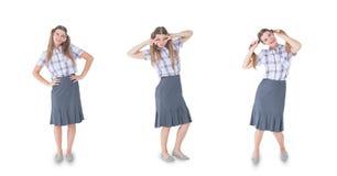 Veelvoudig beeld van vrouw met diverse uitdrukkingen stock foto's