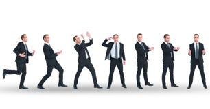 Veelvoudig beeld van zakenman die diverse gebaren op witte achtergrond doen stock afbeeldingen