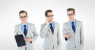 Veelvoudig beeld van zakenman met slimme telefoon en tabletpc stock foto's