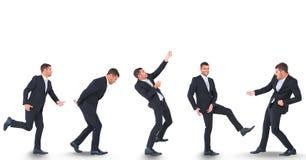 Veelvoudig beeld van zakenman tegen witte achtergrond royalty-vrije stock foto's
