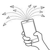 Veelvoudig bericht die concept verzenden Illustratie van hand met smar stock illustratie