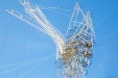 Veelvoudig blootstellingsbeeld van bouwconstructieplaats in het centrum van Londen Kranen en concrete samentrekking tegen van bla stock afbeeldingen