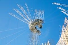 Veelvoudig blootstellingsbeeld van bouwconstructieplaats in het centrum van Londen Kranen en concrete samentrekking tegen van bla stock fotografie