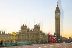 Veelvoudig blootstellingsbeeld van mooie ochtend op de brug van Westminster Londen, het UK stock afbeelding