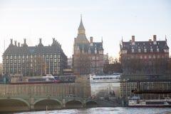 Veelvoudig blootstellingsbeeld van mooie ochtend op de brug van Westminster Londen, het UK royalty-vrije stock foto's