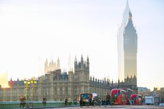 Veelvoudig blootstellingsbeeld van mooie ochtend op de brug van Westminster Londen, het UK stock foto's