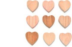 Veelvoudig hart-vormig hout stock foto's