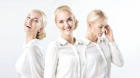 Veelvoudig portret van een blonde onderneemster in gelukkige/slechte stemming royalty-vrije stock fotografie