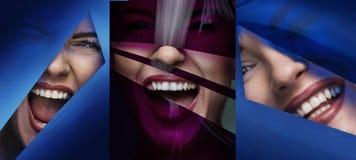 Veelvoudig portret van een vrouwelijk gezicht achter een plastic band royalty-vrije stock foto