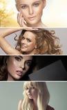 Veelvoudig portret van vier overweldigende dames stock foto's