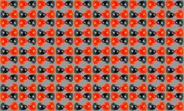 Veelvoudig Rood Zwart Liefdemarmer met grijze backgrou Stock Afbeelding