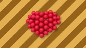 Veelvoudige ballons die een hart in het centrum op achtergrond met gele en bruine strepen vormen stock footage