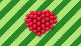 Veelvoudige ballons die een hart in het centrum op achtergrond met groene strepen vormen stock videobeelden