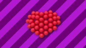 Veelvoudige ballons die een hart in het centrum op achtergrond met purpere strepen vormen stock footage