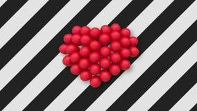 Veelvoudige ballons die een hart in het centrum op achtergrond met zwart-witte strepen vormen stock video