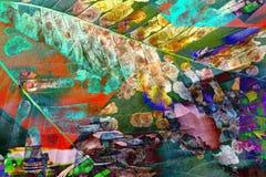 Veelvoudige blootstelling van kastanjebladeren over technoachtergrond stock foto's