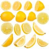 Veelvoudige citroen op witte geïsoleerder achtergrond Royalty-vrije Stock Fotografie