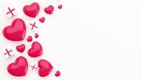 Veelvoudige die harten en giften op de vloer worden geschikt van hoogste mening wordt gezien Stock Afbeeldingen