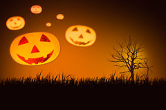 Veelvoudige Halloween-pompoen royalty-vrije stock foto's