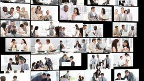 Veelvoudige hdschoten van een bureaumilieu met mensen workign samen stock video