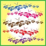 Veelvoudige kettingen van vlinders in hun vlucht royalty-vrije illustratie