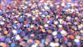 Veelvoudige metaalcryctals die op rode en blauwe kleuren wijzen het 3d teruggeven Stock Afbeeldingen