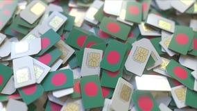 Veelvoudige Simkaarten met vlag van Bangladesh Het inwoner van Bangladesh mobiele telecommunicatie conceptuele 3D teruggeven royalty-vrije illustratie