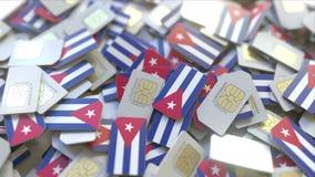 Veelvoudige Simkaarten met vlag van Cuba Het Cubaanse mobiele telecommunicatie conceptuele 3D teruggeven stock illustratie