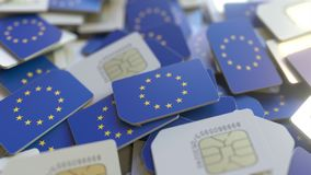 Veelvoudige Simkaarten met vlag van de Europese Unie EU Het Europese mobiele telecommunicatie conceptuele 3D teruggeven royalty-vrije illustratie