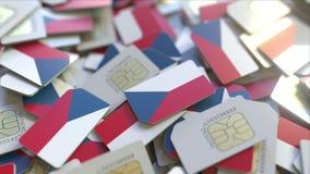 Veelvoudige Simkaarten met vlag van de Tsjechische Republiek Het nationale mobiele telecommunicatie conceptuele 3D teruggeven vector illustratie