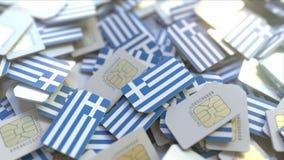 Veelvoudige Simkaarten met vlag van Griekenland Het Griekse mobiele telecommunicatie conceptuele 3D teruggeven stock illustratie