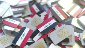 Veelvoudige Simkaarten met vlag van Irak Het Iraakse mobiele telecommunicatie conceptuele 3D teruggeven royalty-vrije illustratie