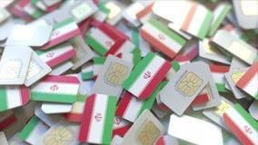 Veelvoudige Simkaarten met vlag van Iran Het Iraanse mobiele telecommunicatie conceptuele 3D teruggeven vector illustratie