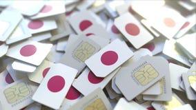 Veelvoudige Simkaarten met vlag van Japan Het Japanse mobiele telecommunicatie conceptuele 3D teruggeven royalty-vrije illustratie