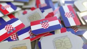 Veelvoudige Simkaarten met vlag van Kroatië Het Kroatische mobiele telecommunicatie conceptuele 3D teruggeven stock illustratie